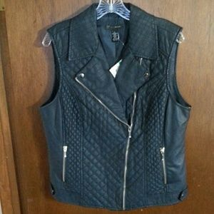 NWT I.N.C. deep navy faux leather vest